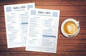 New Bob's Café Menus